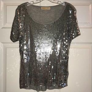 Michael Kors Grey Silver Sequin Shirt